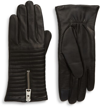 AllSaints Estella Quilted Leather Touchscreen Gloves