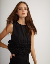 Cynthia Rowley Black Mini Ruffle Shell
