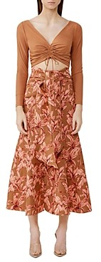 Significant Other Sienna Printed Linen Blend Midi Skirt