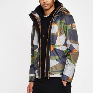 River Island Superdry green hooded polar jacket