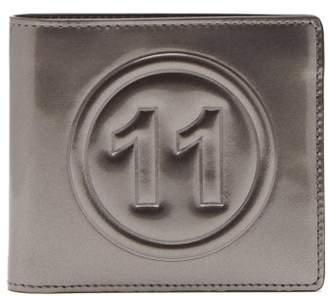 Maison Margiela No.11 Metallic Leather Bi Fold Wallet - Mens - Dark Grey