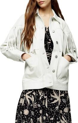 Topshop Roy Fringe Leather Jacket