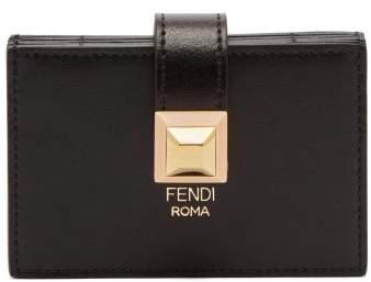 Fendi Stud Embellished Expandable Leather Cardholder - Womens - Black