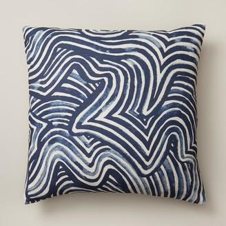 "Oui Maze Pillow Cover Indigo Blue 18"" X 18"""