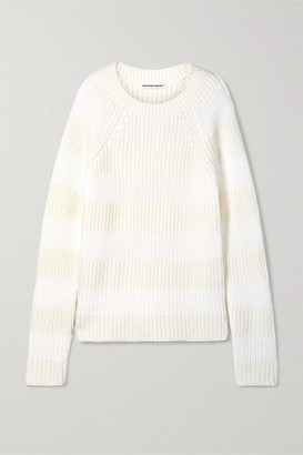 Alexander Wang Striped Wool-blend Sweater - White