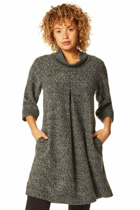 Roman Originals Women Tweed Cowl Neck Pocket Dress - Ladies Casual Day 3/4 Sleeve Relaxed Fit Work Office Slouch Cocoon Smart Relaxed Loose Baggy Fit Tunic Dresses - Grey - Size M