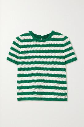 Oscar de la Renta - Striped Cotton Sweater - Green
