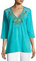 Johnny Was Mary Ann Embroidered Blouse, Turquoise