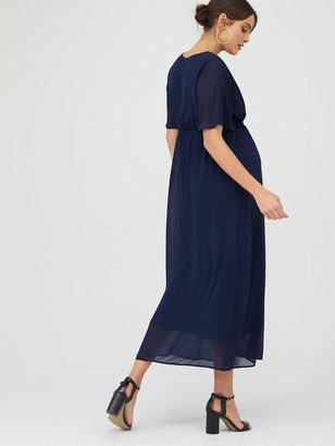 Mama Licious Maternity Maxi Occasion Dress With Hidden Nursing Function - Navy