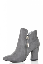Quiz Grey Faux Suede Gold Zip Heeled Ankle Boots