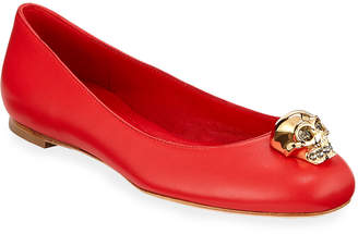 Alexander McQueen Skull Ornamented Leather Ballet Flats, Red