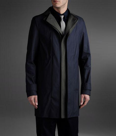 Emporio Armani Overcoat In Heat-Sealed Technical Fabric