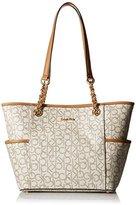 Calvin Klein Logo Chain Tote Bag, Almond/Khaki/Cashew Saffiano, One Size