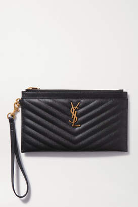 Saint Laurent Monogramme Large Quilted Textured-leather Pouch - Black