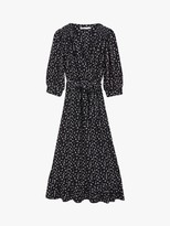 Oasis Ditsy Floral Print Midi Dress, Blue/Multi