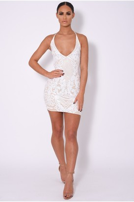 Nazz Collection Icey Vip White Nude Plunge Floral Sequin Illusion Mini Dress