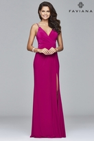 Faviana 7911 Long jersey dress with fitted bodice and beaded strap