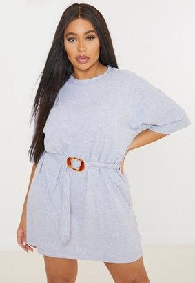 Missguided Plus Size Gray Tortoiseshell Belted T Shirt Dress