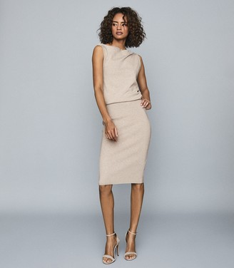 Reiss CLAUDINE DRAPED KNITTED DRESS Neutral