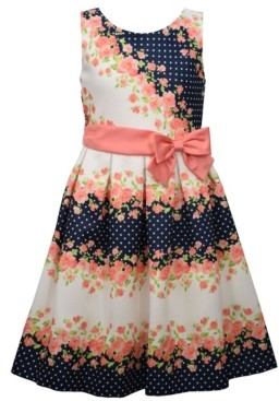 Bonnie Jean Little Girls Sleeveless Pique Striped Dress with Ribbon and Side Bow