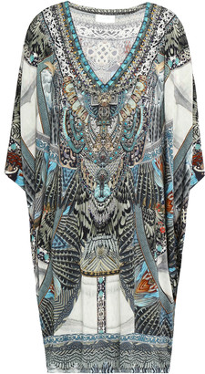 Camilla Girl On The Wing Crystal-embellished Printed Stretch-jersey Mini Dress