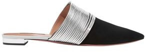 Aquazzura Rendez Vous Metallic Leather And Suede Slippers
