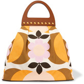 Miu Miu Studded Leather-trimmed Floral-print Canvas Tote - Yellow