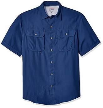 Izod Men's Surfcaster Short Sleeve Button Down Patterned Fishing Shirt