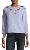 Rebecca Minkoff Jennings Crewneck Pullover Sweatshirt w/ Embroidery