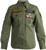 Marc Jacobs Patch and brooch embellished cotton jacket