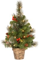 National Tree 2' Crestwood Spruce Small Tree with Silver Bristle, Cones, Red Berries and Glitter in a Plastic Bronze Pot with 35 Clear Lights - 24 in. - 36 in.