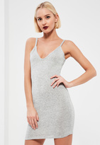 Missguided Silver Lurex Strappy Mini Dress