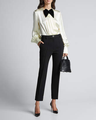 Gucci Long-Sleeve Satin Blouse With Velvet Bow-Tie