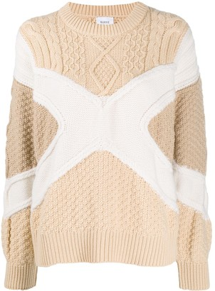 Barrie colour blocked knitted jumper