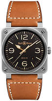 Bell & Ross Br0392-st-g-he/sca Golden Heritage Leather Strap Watch, Tan/black