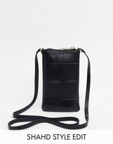 Asos Design DESIGN cross body phone pouch in black weave
