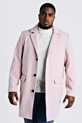 boohoo Big & Tall Single Breasted Wool Mix Overcoat