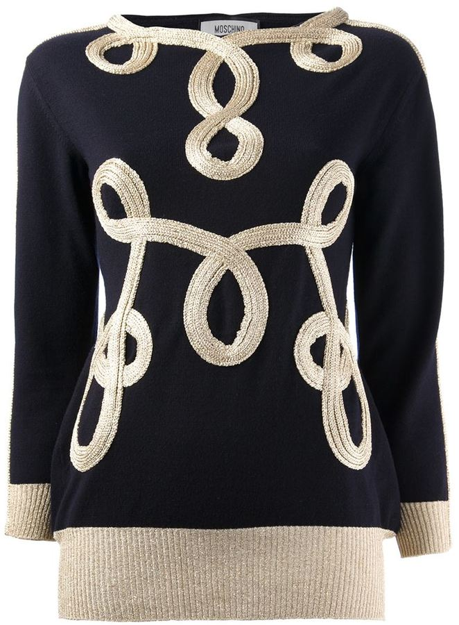 Moschino embroidered bi-colour sweater
