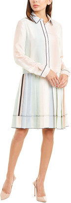 Piazza Sempione Pleated Silk Shirtdress