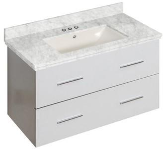 "BEIGE Hinerman 36"" Wall-Mounted Single Bathroom Vanity Set Royal Purple Bath Kitchen Top Finish: Beige, Sink Finish: Biscuit, Faucet Mount: 4"" Centers"