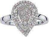 AX Jewelry Sterling Silver Tear-Drop Classic Diamond Ring 1/4 CTW