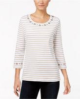 Karen Scott Grommet-Trim Striped Top, Only at Macy's