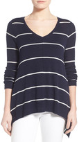 Willow & Clay Ribbed Sleeve Stripe V-Neck Sweater