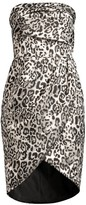 Black Halo Tamara Leopard Strapless Tulip Dress