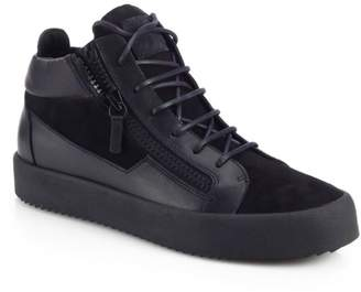 Giuseppe Zanotti Leather & Suede Double-Zip Sneakers