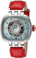 TULIPENOIRE Women's Mechanical Hand Wind Stainless Steel and Leather Watch, Color:Red (Model: A4)