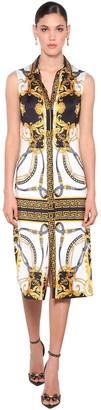 Versace Fitted Print Jersey Midi Shirt Dress