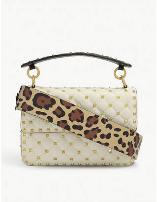 Valentino Quilted medium leopard-print leather shoulder bag