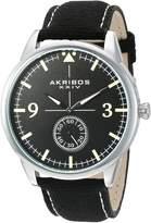 Akribos XXIV AK938BK Men's Quartz Metal and Canvas Automatic Watch