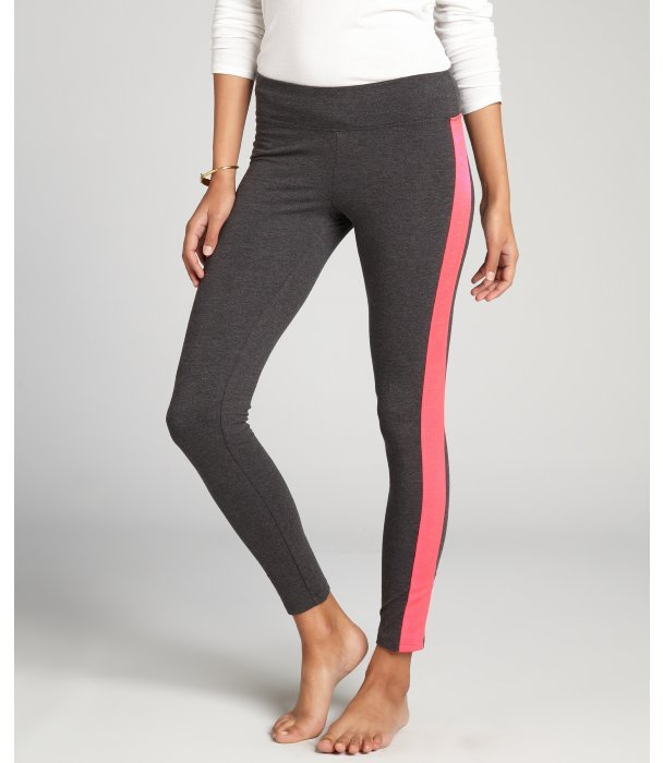 Marc New York charcoal and hot pink stretch cotton side stripe logo performance leggings